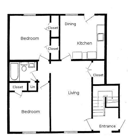 Duplex plans 2 bedroom 2 bath joy studio design gallery for Two bedroom flat floor plan
