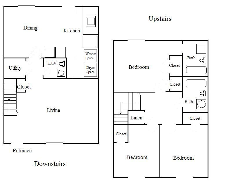 Cedar hills apartments Townhouse layout 3 bedrooms